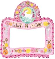 "26"" x 27"" Believe In Unicorns Inflatable Foil Frame Girls Party Decoration Pink"