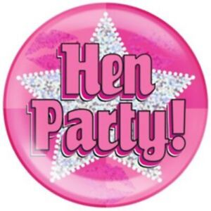 "6"" JUMBO PINK HEN PARTY BADGE GIRLS LADIES NEW PARTY HOLOGRAPHIC PIN HEN NIGHT"