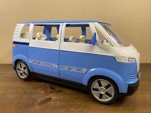2002 Mattel Barbie VW Bus Van Blue Volkswagen Sliding Door & Working Horn
