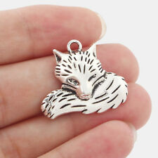 5 x Animal Fox Head Tibetan Silver Charms Pendants Beads 24x28mm
