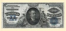 1891 $20 Silver Certificate Treasury Note Large Size Currency Paper Money Vf Xf