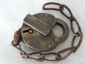 Obsolete Antique Railroad brass padlock N.L.N.R.R.