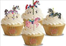 12 Novelty Carousel Horse Mix Edible Cupcake Cake Toppers Decorations Fairground
