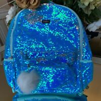 Justice Ocean Blue Flip Sequin Pom Pom Full Size Backpack NWT RARE Find