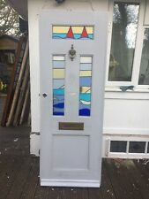 S STAINED GLASS FRONT DOOR WOOD RECLAIMED TIMBER OLD EDWARDIAN LEADED 1910 1920s