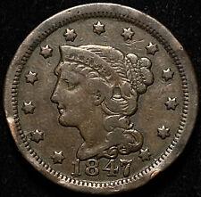 1847 Braided Hair Large Cent N4 R-3 1c