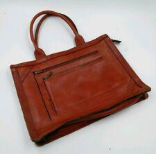Vintage Handbag Brown Leather Tote Shoulder Bag Satchel Retro Mod Office Purse
