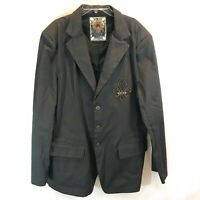 Brooklyn Xpress - Bklyn Sports Coat Brown Fleur De Lis Patch Metal Button Large