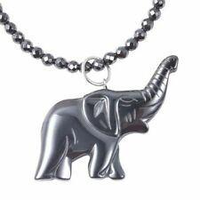 """CARVED HEMATITE ELEPHANT  FACETED HAEMATITE BEADS NECKLACE 24"""" MAGNETIC LOCK NEW"""