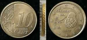 Monnaie 10 Cent Euro Espagne 2007 Roue de wagon Erreur faute fautée (88)