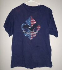 BSA beat-up lrg T shirt Boy Scouts fleur-de-lis symbol USA retro tee w/ eagle