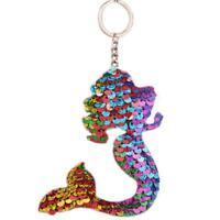 Ladies Sequins Keyring Mermaid Keychain Decorative Delicate Glitter Pendant LS