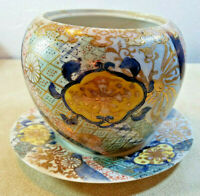 """Vintage Hand Painted Pottery Planter & Plate Gold Accents 5"""" Tall 6"""" Diameter"""