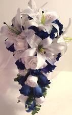 Royal Horizon Blue White Lily Bridal Bouquet Silk Rose Flower Package 2pc