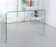 Unique Modern Design. Clear Bent Safety Glass Large Console Hall Table Desk