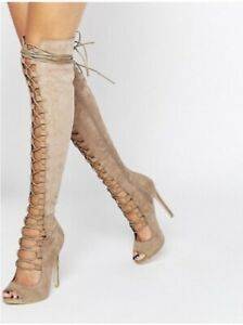 Daisy Street thigh high gladiator lace up heels/boots Black Gr.38 Neu