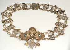 ANTIQUE OTTOMAN TURKISH SILVER FILIGREE BELT WITH TURQUOISE ACCENTS EARLY 1900s