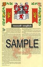 RUSSELL Armorial Name History - Coat of Arms - Family Crest GIFT! 11x17