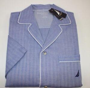 NWT NAUTICA Size S Men's Short Sleeve Blue Herringbone Light Weight Night Shirt