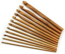 "12pc Bamboo Handle Crochet Hook Knit Craft Knitting Needle 6""- Brown Usa Seller"