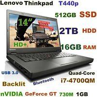 """3D-Design Thinkpad T440p i7-Quad 512GB SSD + 2TB 16GB 14"""" nVIDIA Backlit Docking"""
