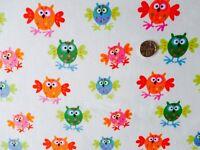 1 Metre Flappy Owls Fabric by Copenhagen Print Factory 100% Organic Cotton SP