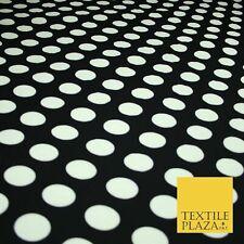 High Quality Black with 3cm White Spot Polka Dot Silky Crepe Dress Fabric   2128