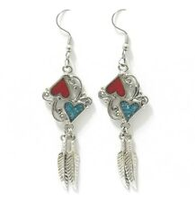 SOUTHWEST HEARTS TURQUOISE CHIP INLAY EARRINGS 13312 feathers western jewelry