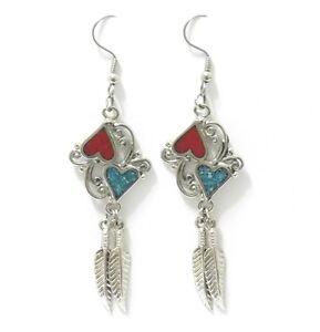 Feather Jewelry Southwestern Santa Fe Jewelry Turquoise Earrings Boho Feather Earrings