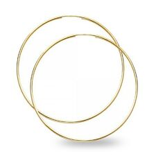 Big Round Hoop Earrings Solid 14k Yellow Gold Plain Endless Polished Women