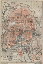 La rochelle ville city plan de la ville. charente-maritime carte 1914 old map