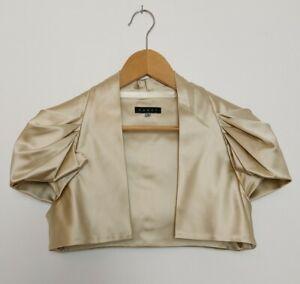 COAST Gold Satin Pleated Shoulder Shrug Jacket Bolero Coverup 12 Occasion