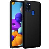 Coque Pour Samsung Galaxy A21S Étui Noir Mat Silicone TPU + Verre Trempé