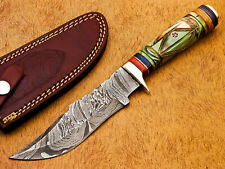 Rody Stan HAND MADE DAMASCUS HUNTING KNIFE - BRASS GUARD - DHL-333