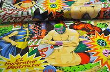 Alexander Henry MEXIKO USA Designerstoff 0,5 m WRESTLING WRESTLER COMIC