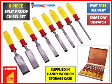 8 Piece Split Proof Capped Wood Chisel Set In Wooden Case Carving Woodwork E0610