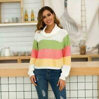 Long Sleeve Knitwear Knit Shirt Tops Loose Jumper Womens T-Shirt Sweater
