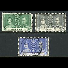 GIBRALTAR 1937 Coronation. SG 118-120. Fine Used. (FM215)