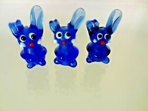 Lampworked glass beads - rabbit cobalt blue 27X14mm. Pk of 3