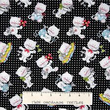 """Cat Fabric - Miss Kitty's Colors Toss on Black & White - Henry Glass 17"""""""