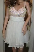 BNWT Ladies La Femme Designer White Jewel Floaty Mini Dress - Size UK 10, USA 6