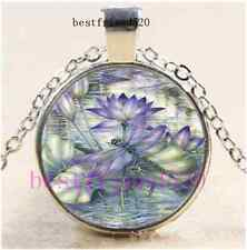 Lotus Dragonfly Photo Cabochon Glass Dome Silver Chain Pendant Necklace#A33