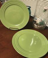 "Set LoT 2 Rachel Ray Double Ridge Stoneware Dinner Plates GREEN 11"" BRAND NEW=D"
