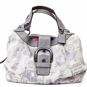 Authentic COACH  Signature Horse & Carriage Large Hobo #D1069-F15209 Ivory Gray