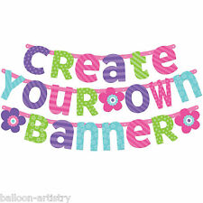 Joyful Pink & Teal Happy Birthday Party Build Your Own Custom Letter Banner Kit