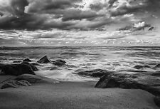 Large Framed Print - Black & White Storm at Sea (Tropical Ocean Picture Poster)