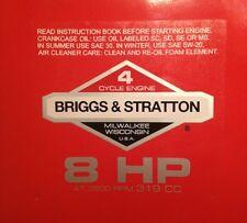 Briggs & Stratton 8-hp Sticker Decal Set 1978-1980 W/ Easy Spin Troy-Bilt Horse