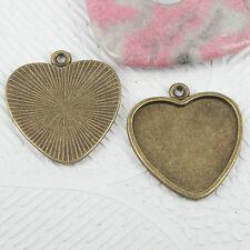 12pcs antiqued bronze color heart shaped cabochon setting EF0702