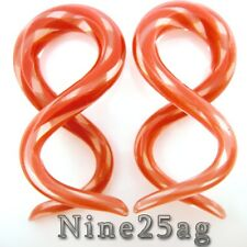6G RED COLOR PYREX GLASS DOUBLE TWISTS PLUGS SPIRALS