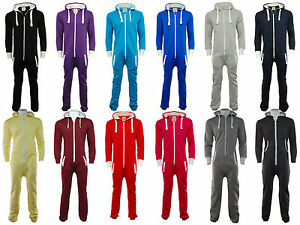 Plain 1Onesie Unisex Zip Up Hooded Tracksuit All In One Piece Jumpsuit All Sizes